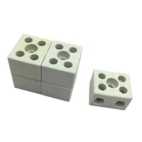5 Pcs Wire Connector 2 Position Dual Row Ceramic Terminal Block, 30A