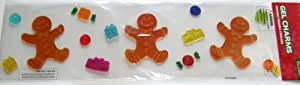 Gingerbread Men and Presents Gel Window Clings