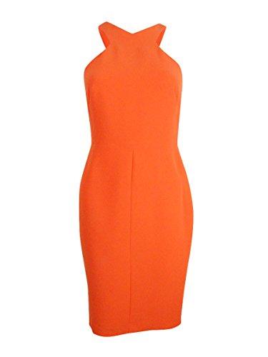 Calvin Klein Scuba Crepe Halter Sheath Dress, Ember, 16 by Calvin Klein