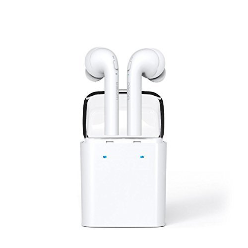 Dacom Bluetooth V4.2 True Wireless Earphones, Stereo Headphones with Portable Charging Case. Smallest Cordless Hands-free Mini Earphones Headset w/ Mic+Noise Reduction for iPhones Samsung LG HTC Etc. (Earphones Apple Wireless)