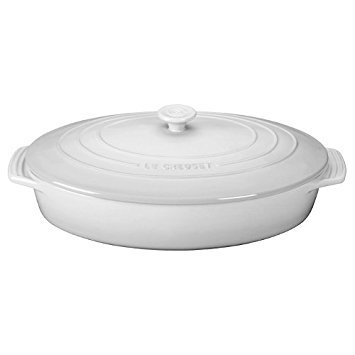 Le Creuset Stoneware Covered Oval Casserole, 3-3/4-Quart, White