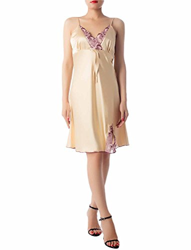 iB-iP Women's Nightgown Sleepwear Lace Trimmed Satin Knee-Long Chemise Lingerie, Size: S-M, Gold