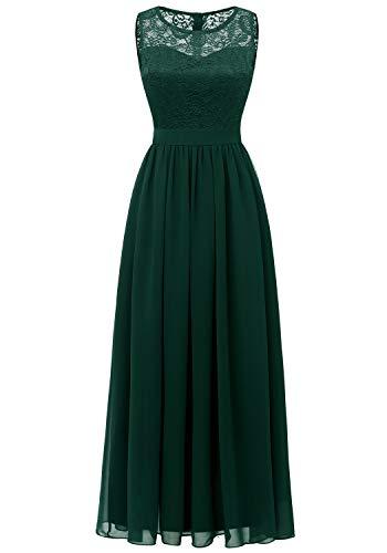 Dressystar 0046 Lace Chiffon Bridesmaid Dress Sleeveless Formal Wedding Party Dress Green 2XL