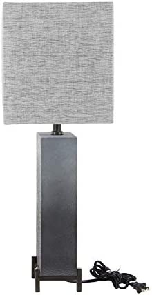 25 Inch Modern Polystone and Iron Square Gradient Gray Table Lamp Grey Contemporary