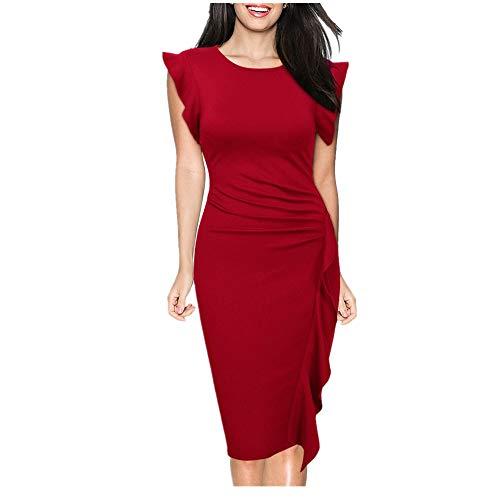 Nhatycir Couleur Unie col Rond Manches de la Feuille de Lotus Femmes Sexy Jupe Taille Mince Robe lgante (Color : Navy Color, Size : S) Red