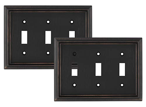Pack of 2 Wall Plate Outlet Switch Covers by SleekLighting | Decorative oil rubbed bronze | Variety of Styles: Decorator/Duplex/Toggle / & Combo | Size: 3 Gang Toggle