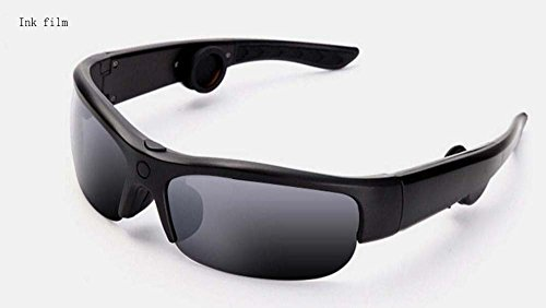 (Hzhy Bone Conduction Bluetooth Glasses Bone Conduction Bluetooth 4.0 Headset Bone Conduction Smart Sunglasses Outdoor, Travel, Driving (Color : Ink Film))