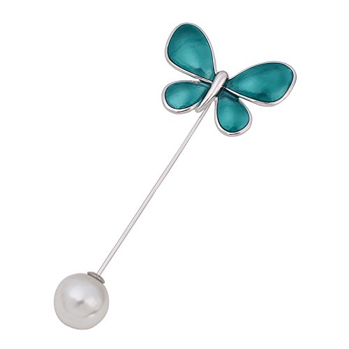 OBONNIE Elegant Enamel Butterfly Lapel Stick Pin Jewelry Hat Scarf Suit Tie Brooch Pin Gold/Silver Tone (Turquoise Stick Pin)