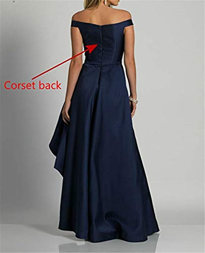 Dresses Black Long Off Gowns Evening Formal Prom Shoulder The Low Homdor High Satin 7AnHxwZ