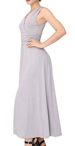 Long Dress Grey V Stretch Women's Swing Waist Accept Neck Slim Empire Cromoncent Waist Color Solid Evening BOCw6qx