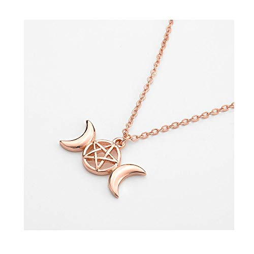 MANZHEN Triple Moon Goddess Pendant Necklace Pentacle Pentagram Wiccan Jewelry (Rose Gold)