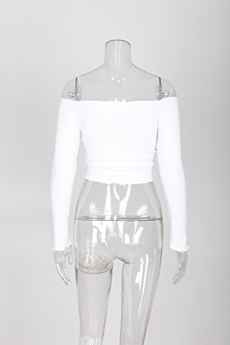 Famulily Women's Sexy Off Shoulder Frill Drawstring Knit Long Sleeve Crop Tops Tube(White,Small) by Famulily (Image #3)
