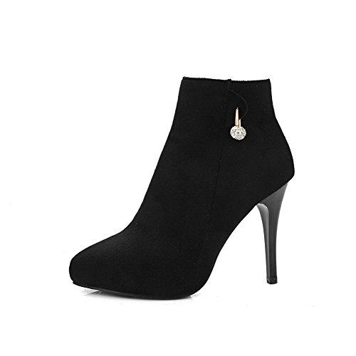 AllhqFashion Mujeres Cremallera Caña Baja Tacón de aguja Botas con Diamante Negro