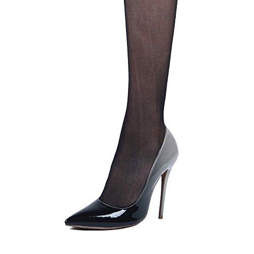 Kevin Moda Donna Stiletto Tacco Alto In Vernice Club Party Scarpe Da Sera Nero / Grigio