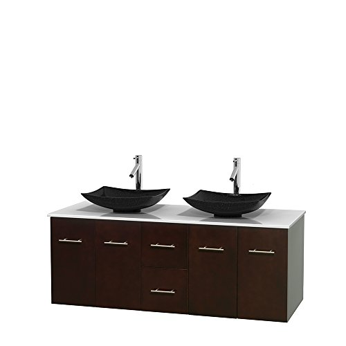 Wyndham Collection Centra 60 inch Double Bathroom Vanity in Espresso, White Man-Made Stone Countertop, Arista Black Granite Sinks, and No Mirror price