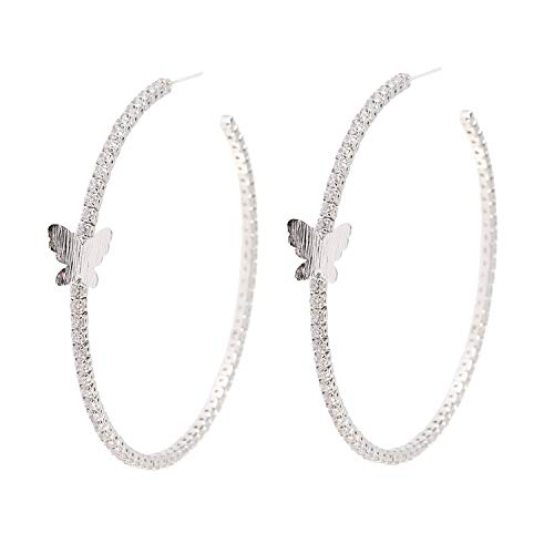 YILIBAO Hoop Earring Round Cubic Zirconia Star Heart and Butterfly for Women and Girls,925 Silver Needles (Butterfly White Gold) (Embellished Ring Butterfly)