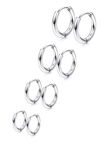 (CASSIECA 4 Pairs 316L Surgical Stainless Steel Huggie Hoop Earrings 8mm/10mm/11mm/12mm/14mm Hypoallergenic Earrings Hoop Cartilage Helix Lobes Hinged Sleeper Earrings for Men Women )