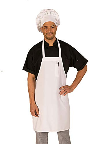 Economy Bib Apron by Hilite Uniform Fixed Neck Unisex Kitchen Clothes Stain Resistance Fabric for Cook Baker Dishwasher Worker (White)