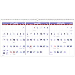AT-A-GLANCE 2019 Wall Calendar, 3-Month Display, 23-1/2'' x 12'', Large, Wirebound, Horizontal (PM1428)