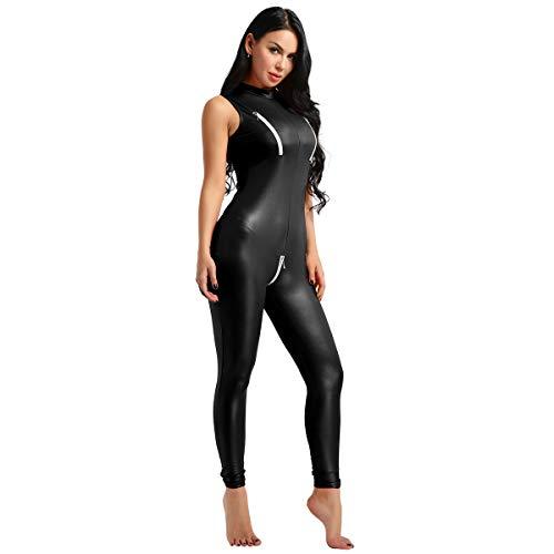 iiniim Women's One Piece Faux Leather Zipper Crotch Mock Neck Leotard Bodysuit Catsuit Black - Catsuit Patent