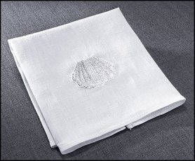 Baptismal Napkin Linen with Embroidered Shell 10.5 X 11' Pack of 4