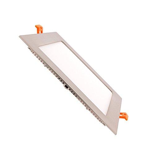 LED Einbaustrahler Downlight LED Deckeneinbauleuchte Eckig 18W Silber Rahmen Downlight LED Neutrales Weiß 4000k-4500K LEDKIA