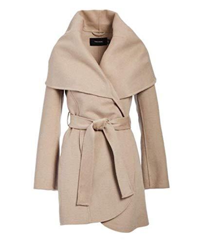 T Tahari Women's Double face Wool Coat with Optional self tie Belt, Brown Sugar, Small