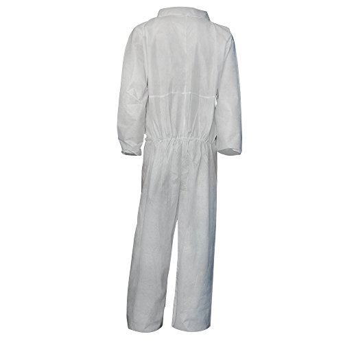 Raytex 5 Pack Disposable Coveralls Jumpsuits for Men White SMMS Chemical Protective Paint Suit Elastic at Cuffs, Ankles,Waist(Large) by Raytex (Image #1)