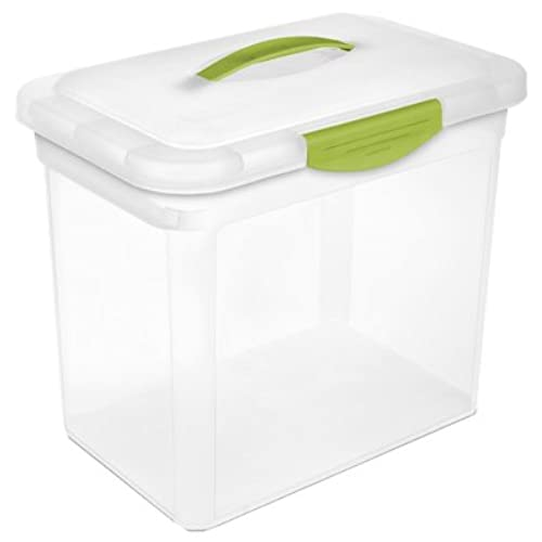 Charmant Sterilite 18961806 Storage Box, 14 1/4 X 9 5/8 X 12 1/8 Inches, Clear Base  With Blue Lid