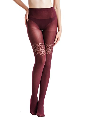 Zeraca Women's 80 D Sheer to Waist Pattern Footed Opaque Tights 1 or 3 Pack (S/M, 03 Red)
