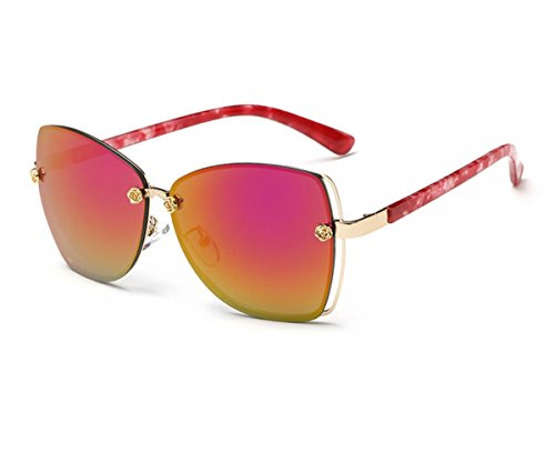 Konalla Square Rimless Flash Mirror Metal Little Flower Sunglasses for Womens - Of Lafayette Mall