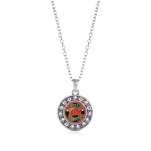 Inspired Silver - Fire Department Badge Charm Necklace for Women - Silver Circle Charm 18 Inch Necklace with Cubic Zirconia Jewelry ()
