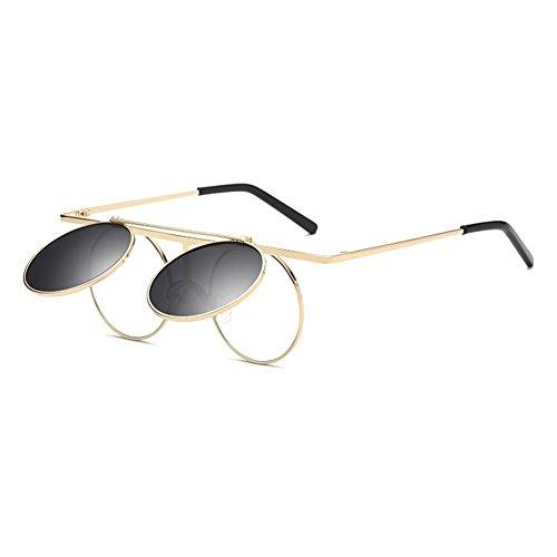 Vintage Polarisées Steampunk Polarized lunettes de soleil femmes hommes  hibote gothique ronde Flip Up Lens C3 88955444be55