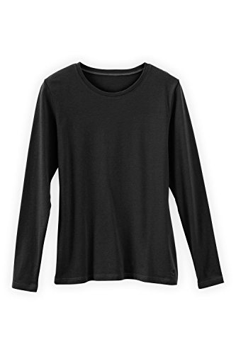 (Fair Indigo Fair Trade Organic Essential Long Sleeve Crew Neck Tee (M, Black) )