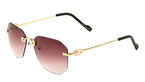 Bowie Rimless Geometric Wire Aviator Luxury Sunglasses (Gold & Black Frame, Purple Gradient) (Sunglasses Gold Luxury)