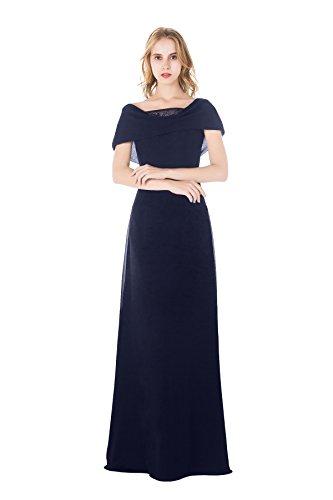 AISLE STYLE Elegant Shoulder Wrap Long A Line Chiffon Evening Dress by AISLE STYLE