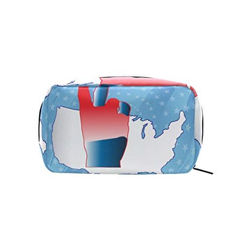 FAJRO USA Map With Victory Gesture Cosmetic Bag Organizer Makeup Bag ()