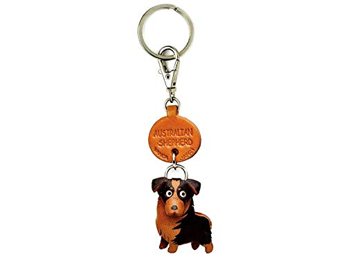 Australian Shepherd Leather Dog Small Keychain VANCA Craft-Collectible Keyring Charm Pendant Made in Japan