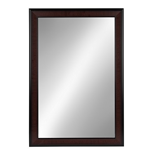 Mahogany Vanity Mirror (DesignOvation Virgo 23x34 inches Black and Mahogany Over The Sofa Framed Wall Mirror,)