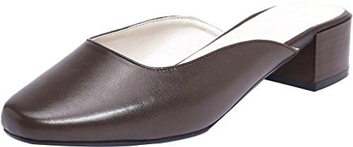 Mules Blockabsatz Calaier Slipper Sandalen Schuhe Frauen Zehe Braun Geschlossene 4CM qyUw1RPU