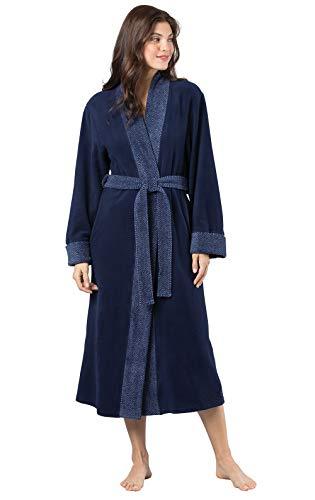 PajamaGram Women's Bathrobes Ultra Plush - Fleece Womens Robe, Navy, XS/S, 2-6