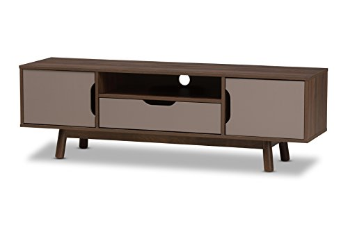 Baxton Studio Bethel Wood Television Stand - Mid-century TV stand Brown and grey finishing Two-tone finishing - tv-stands, living-room-furniture, living-room - 31lXaHeuSNL -
