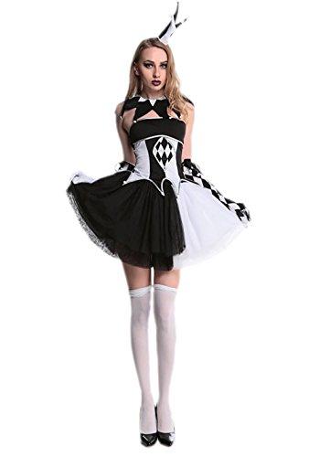 JJ-GOGO Clown Costume Women - Fancy Adult Halloween Burlesque Circus Hatter Cosplay -