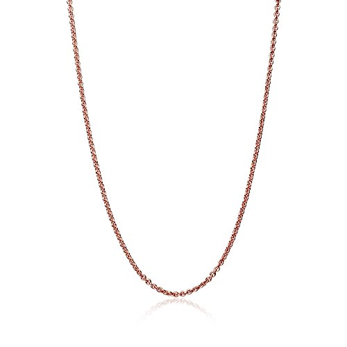 (GemStar USA Rose Gold Flashed Sterling Silver 1mm Thin Light Cable Rolo Chain Necklace, 24 inches)