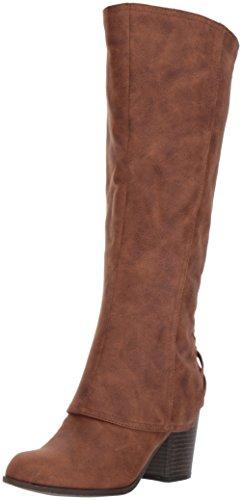 Fergalicious Women's Tootsie Wide Calf Knee High Boot, Cognac, 9.5 M US