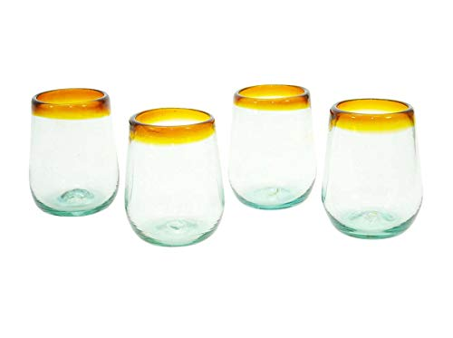 Set of 4, Amber Rimmed Stemless Wine Glasses-16 oz. Mexico ()