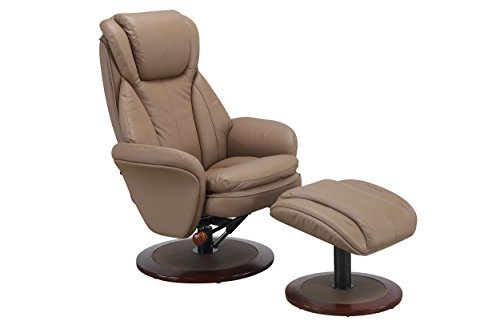 Motion Norway Recliner and Ottoman in Sand Leather (Contemporary Euro Style Seating)