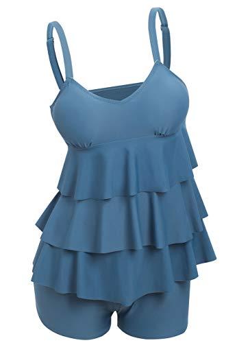 Size 6xl Bottom Plus Grey Tankini Ecupper Swimwear Swim Top Blue Printed Padded With Retro 2 Womens Piece UGSzVpqM