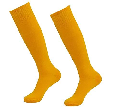 Team Sports Socks, Getspor Long Soccer Football Baseball Rugby softball Tube Socks Yellow 2 Pairs ()