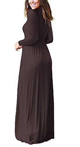 3e8d7e7ee81 ... jastore Damen Elegant Langarm Herbst Winter Sommerkleid Lässig  Strandkleid Boho Bodenlang Kleider Einfach Frauen Maxi Kleider